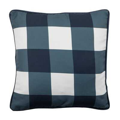"""Buffalo Plaid Outdoor Pillow, Blue, 17"""" Sq. With Piping - Wayfair"""