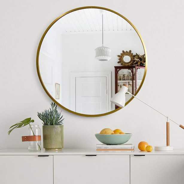 Medium Round Gold Hooks Modern Mirror (31.5 in. H x 31.5 in. W) - Home Depot