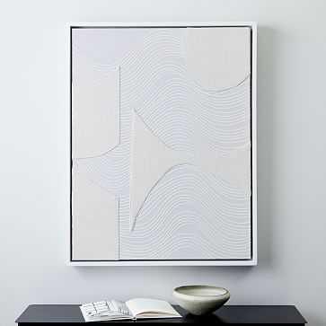 Pieced Fabric Wall Art, White - West Elm
