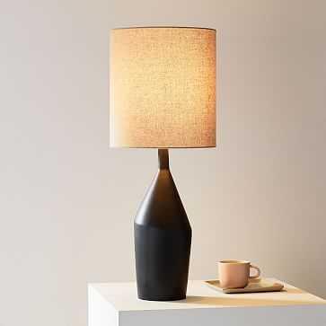 Asymmetric Ceramic Table Lamp, Large, Black - West Elm