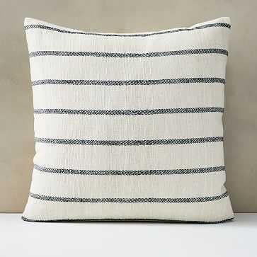 "Cotton Silk Simple Stripe Pillow Cover, 24""x24"", Stone White - West Elm"