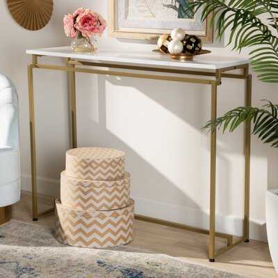 Allynn Modern And Contemporary Brushed Gold Finished Metal Console Table With Faux Marble Tabletop - Wayfair