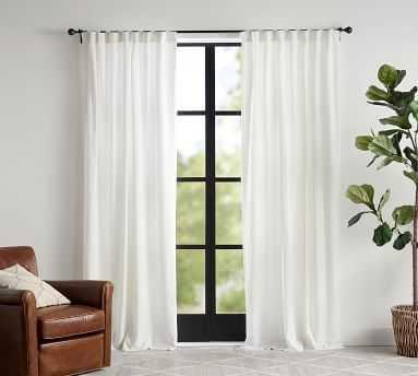 "Custom Classic Belgian Linen Curtain, 96 x 58"", Classic Ivory - Pottery Barn"