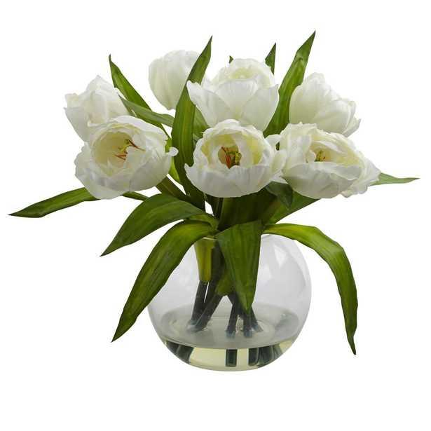 11 in. Tulips Arrangement with Vase - Home Depot