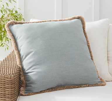 "Sunbrella(R) Solid Tassel Indoor/Outdoor Pillow, 24 x 24"", Chambray - Pottery Barn"
