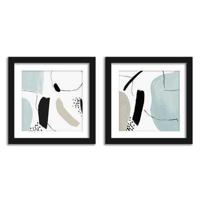 Americanflat Minimalist Shapes Bathroom Wall Art - Set Of 2 Framed Prints By PI Creative - Wayfair