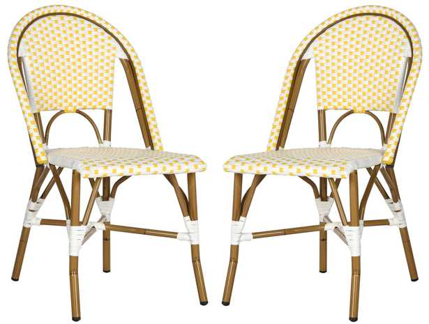 Salcha Indoor-Outdoor French Bistro Stacking Side Chair - Yellow/White/Light Brown - Arlo Home - Arlo Home