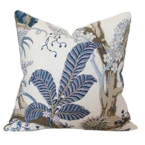 Indian Arbre Hyacinth Blue and Brown  - 11x19 pillow cover  / pattern on front, solid on back - Arianna Belle