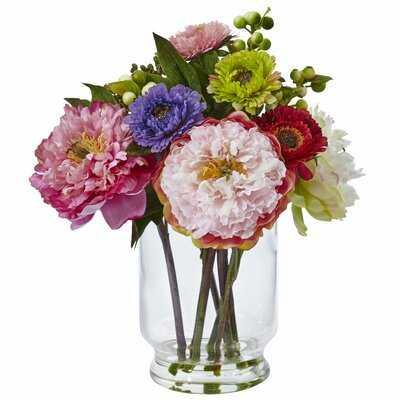 Peony and Mum Floral Arrangement in Decorative Vase - Birch Lane