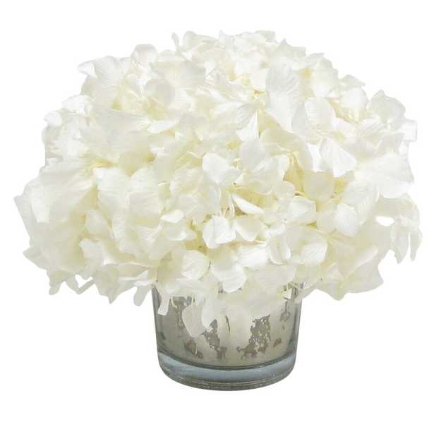 Mini Preserved Hydrangea Floral Arrangement in Vase Flower Color: White - Perigold