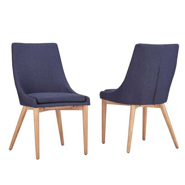 Nobleton Twilight Blue Linen Dining Chair (Set of 2) - Home Depot