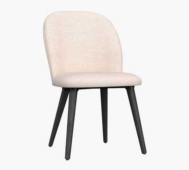 Brea Upholstered Dining Side Chair, Black Leg, Performance Twill Metal Gray - Pottery Barn