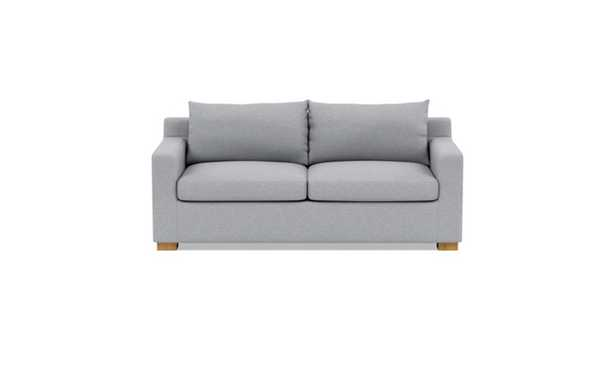 Sloan Sleeper Sleeper Sofa with Grey Gris Fabric, double down blend cushions, and Natural Oak legs - Interior Define