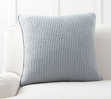 """Thermal Knit Sherpa Back Pillow Cover, 24"""", Heathered Chambray - Pottery Barn"""