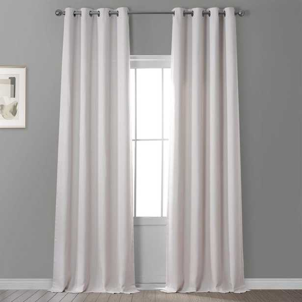 Exclusive Fabrics & Furnishings Birch Ivory Faux Linen Grommet Blackout Curtain - 50 in. W x 108 in. L, Brown - Home Depot