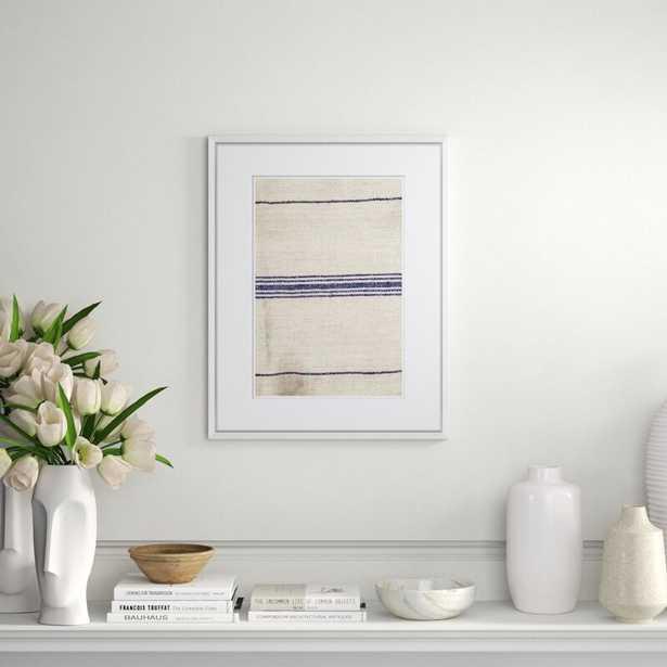 Soicher Marin Finn & Ivy 'Vintage French Sack Cloth in Blue' Framed Print - Perigold