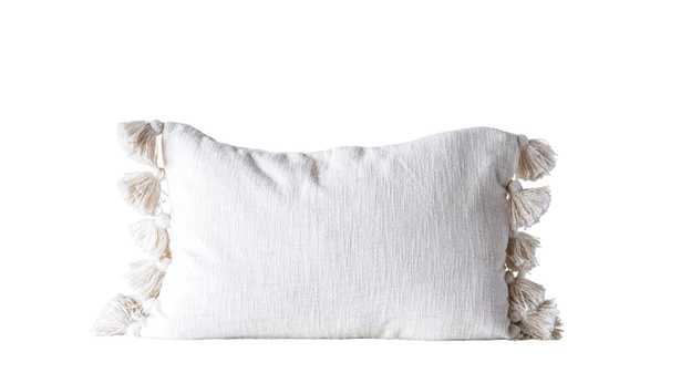 Cream Cotton Woven Slub Pillow with Plush Tassels - Nomad Home