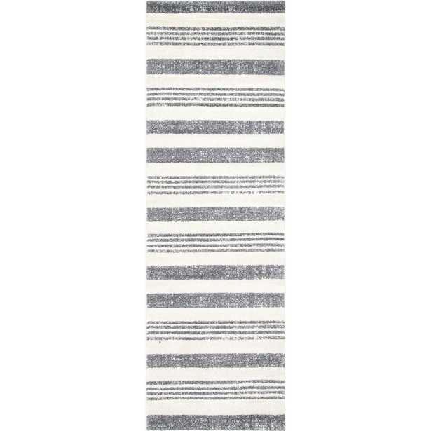 Striped Kelsi Grey 3 ft. x 8 ft. Runner Rug - Home Depot