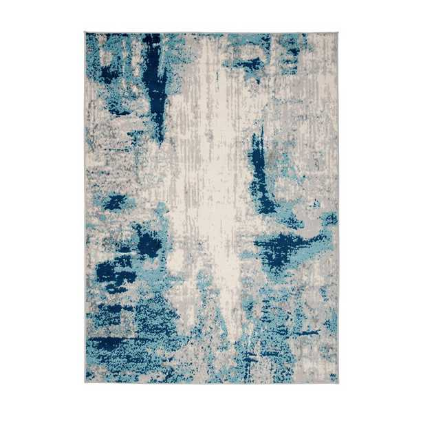 World Rug Gallery Distressed Contemporary 5'x7' Blue Area Rug - Home Depot