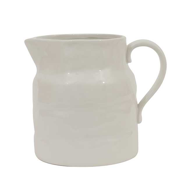"""White Vintage Stoneware Pitcher Reproduction 8""""H - Nomad Home"""