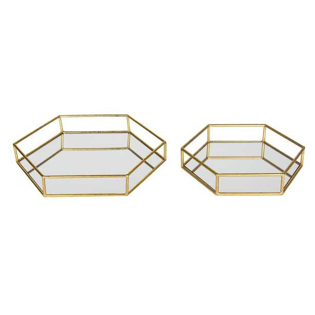 Kate and Laurel Felicia Gold Decorative Tray (Set of 2) - Home Depot