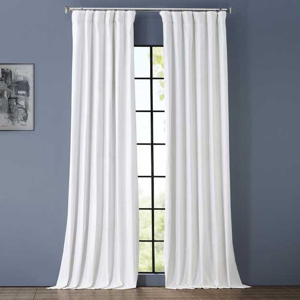 Exclusive Fabrics & Furnishings Whisper White Solid Cotton Blackout Curtain - 50 in. W x 96 in. L - Home Depot