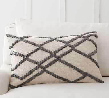 "Calloway Textured Lumbar Pillow Cover, 16 x 26"", Gray Multi - Pottery Barn"