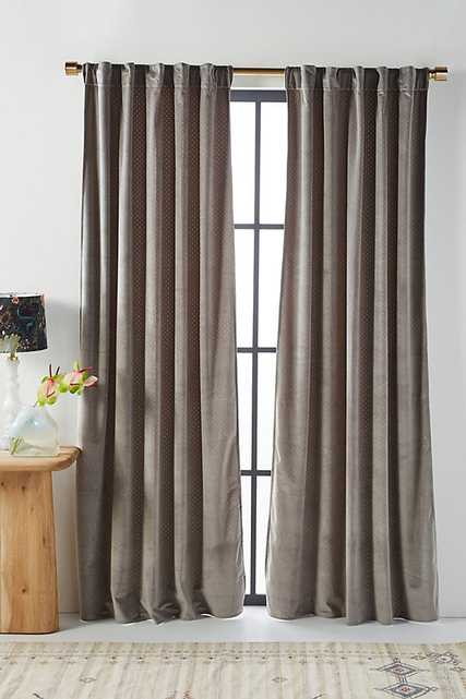"""Velvet Louise Curtain By Anthropologie in Grey Size 108"""" - Anthropologie"""
