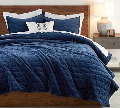 Velvet Tufted Quilt, Full/Queen, Stormy Blue - Pottery Barn
