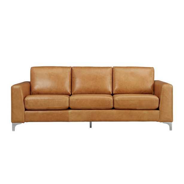 Russel 1-Piece Caramel Leather Sofa - Home Depot