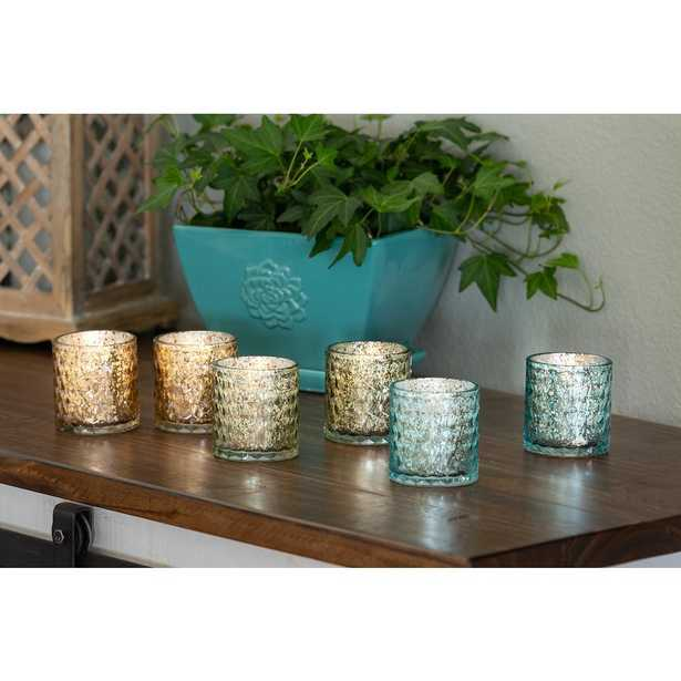 Bella & Bloom candle co. 3 in. Scented Soy Blend Mercury Glass Candles, Set of 6, Blue - Home Depot