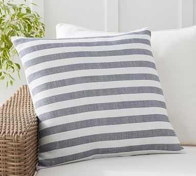 "Outdoor Leandra Reversible Stripe Pillow, 22 x 22"", Ink - Pottery Barn"