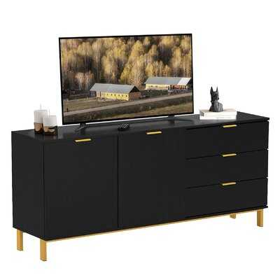 """Modern 62.9"""" Sideboard Buffet Table TV Rack Wooden Stand With 2 Doors And 3 Drawers, Black - Wayfair"""
