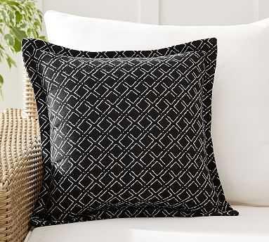"Sunbrella(R) Diamond Reversible Mixer Indoor/Outdoor Pillow, 18 x 18"", Black Multi - Pottery Barn"