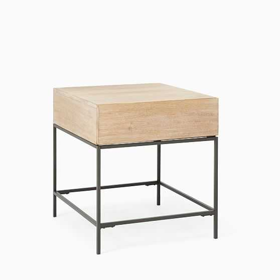 Industrial Storage Collection Cerused White Industrial Storage Side Table - West Elm
