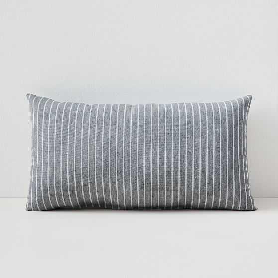 "Sunbrella Indoor/Outdoor Striped Lumbar Pillow, Smoke, Set of 2, 12""x21"" - West Elm"