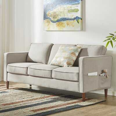 Hana Modern Linen Fabric Loveseat / Sofa / Couch With Armrest Pockets, Sand Grey - Wayfair