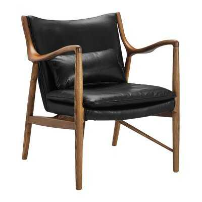 "28"" W Genuine Leather Armchair - Wayfair"