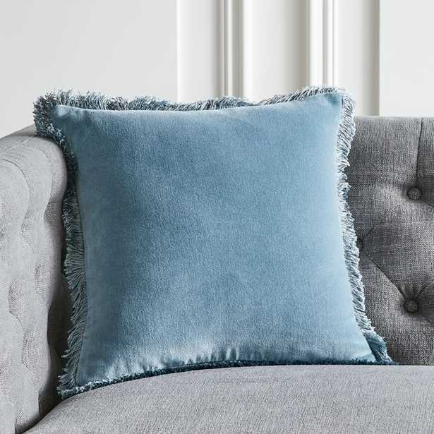 """16"""" Bettie Mineral Blue Pillow with Feather-Down Insert - CB2"""