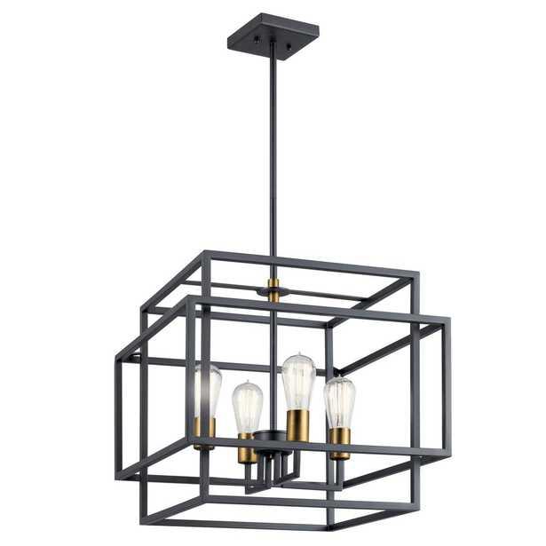 KICHLER Taubert 4-Light Black/Natural Brass Foyer Pendant Light - Home Depot
