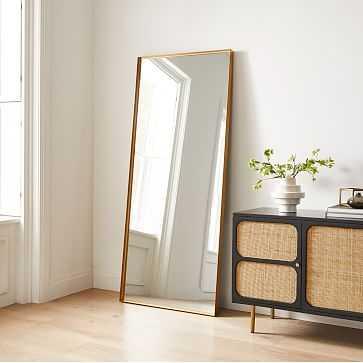 Thin Metal Floor Mirror, Antique Brass, Metal, 30x72 Inches - West Elm