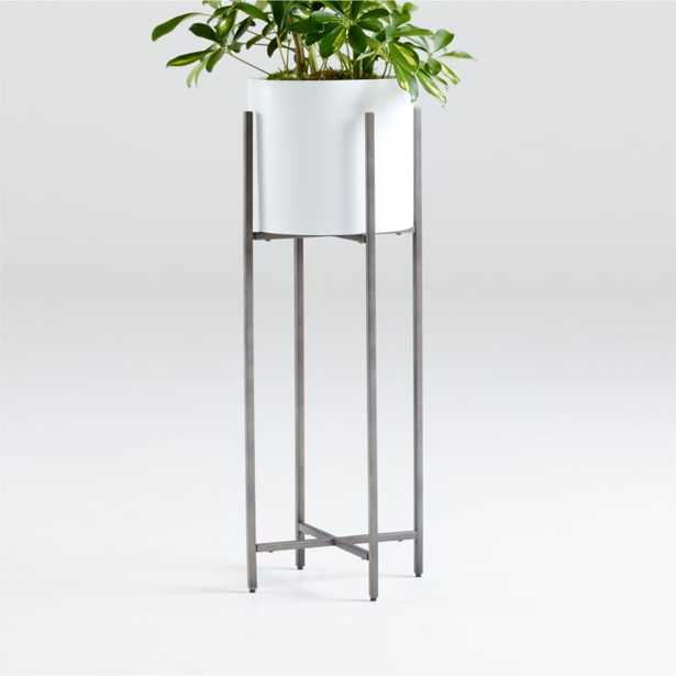 Dundee White Round Planter with Tall Stand - Crate and Barrel