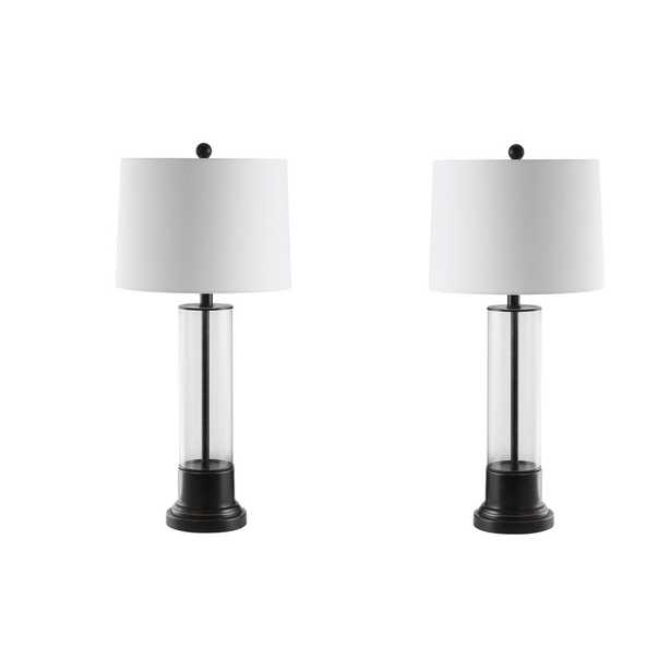 Safavieh Jayse 30.5 in. Black/Clear Table Lamp (Set of 2) - Home Depot