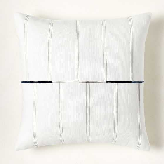 """Dori Embroidered Cotton Canvas Pillow Cover, 20""""x20"""", White - West Elm"""