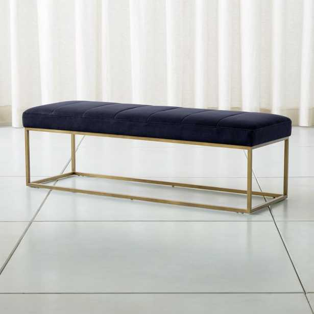 Channel Navy Velvet Bench with Brass Base - Crate and Barrel