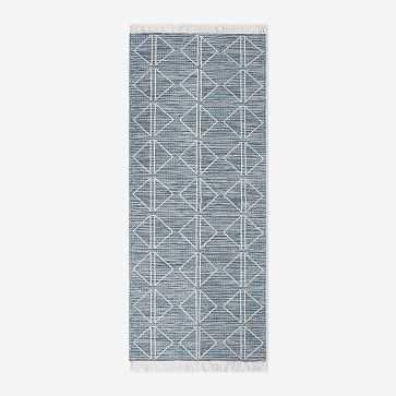 Reflected Diamonds Indoor/Outdoor Rug, Blue Teal, 2.5'x7' - West Elm