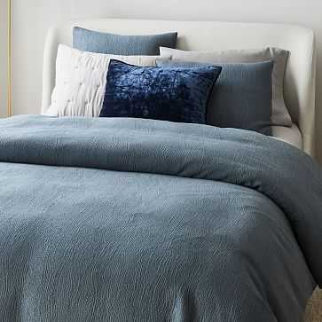 Silky TENCEL Cotton Matelasse Duvet, Full/Queen, Stormy Blue - West Elm