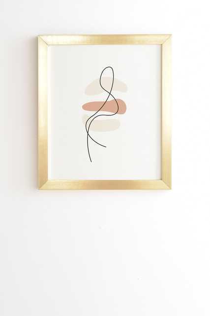 "Abstract Minimal Line Beige by Mambo Art Studio - Framed Wall Art Basic Gold 19"" x 22.4"" - Wander Print Co."