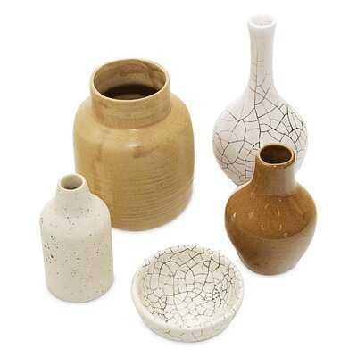 Handmade Minimalist Mini Ceramic Vase Set Of 5 - Wayfair