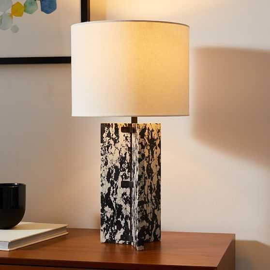 "Marble Slab Table Lamp, 22.5"", Engineered Stone, Dark Bronze - West Elm"